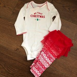 👶3mo Carter's Baby's First Christmas Tutu Outfit